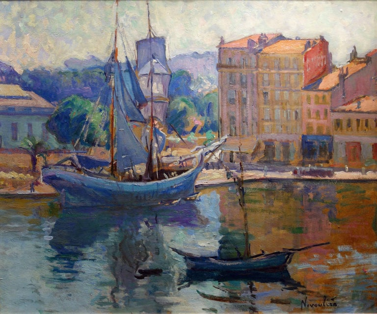 Marie-Anne de Nivoulies Landscape Painting - Sailing boat in the Port of Honfleur in France