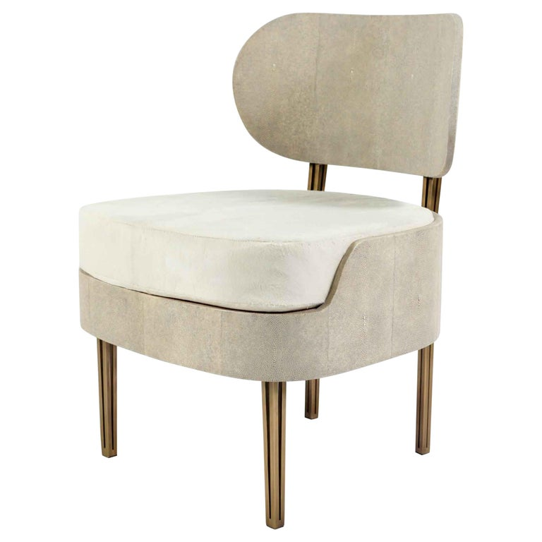 Marie Antoinette Chair in Cream Shagreen and Bronze-Patina Brass by R&Y Augousti For Sale