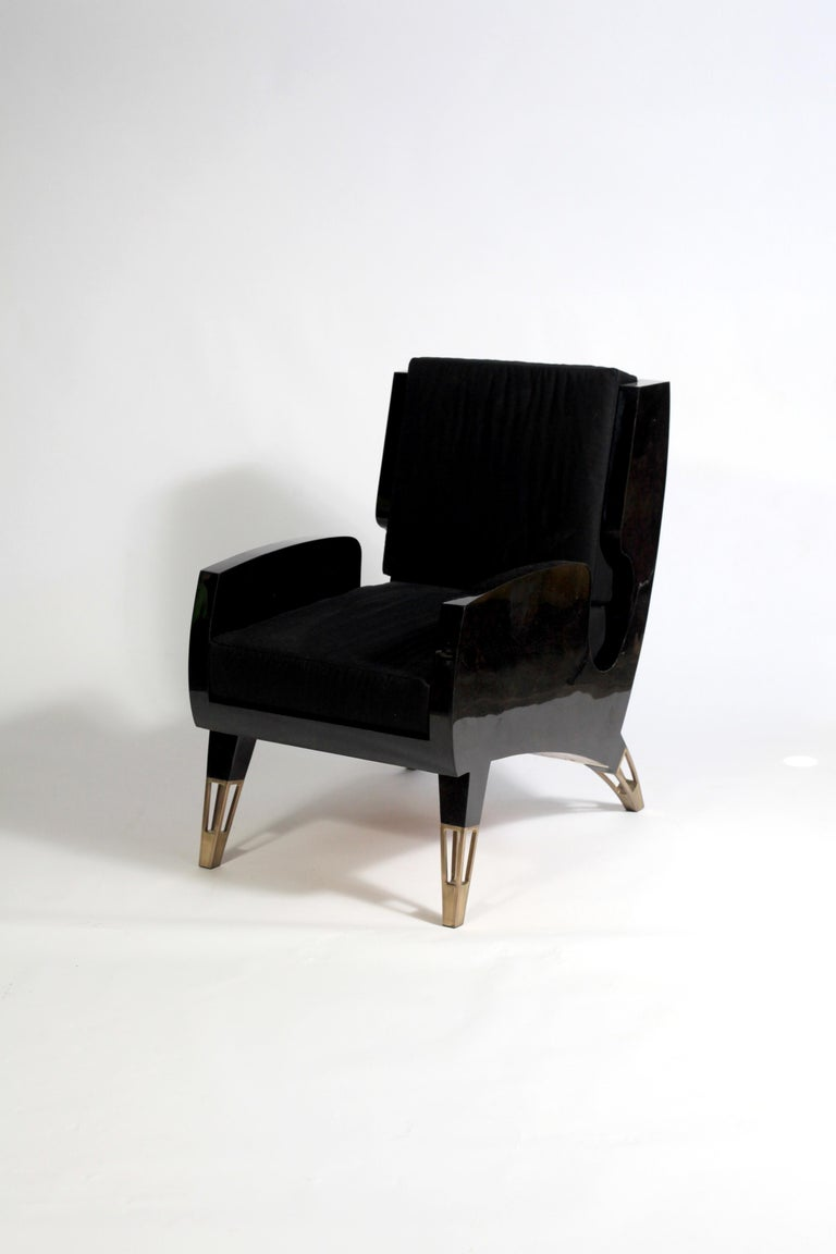 French Marie Antoinette Chair in Cream Shagreen and Bronze-Patina Brass by R&Y Augousti For Sale