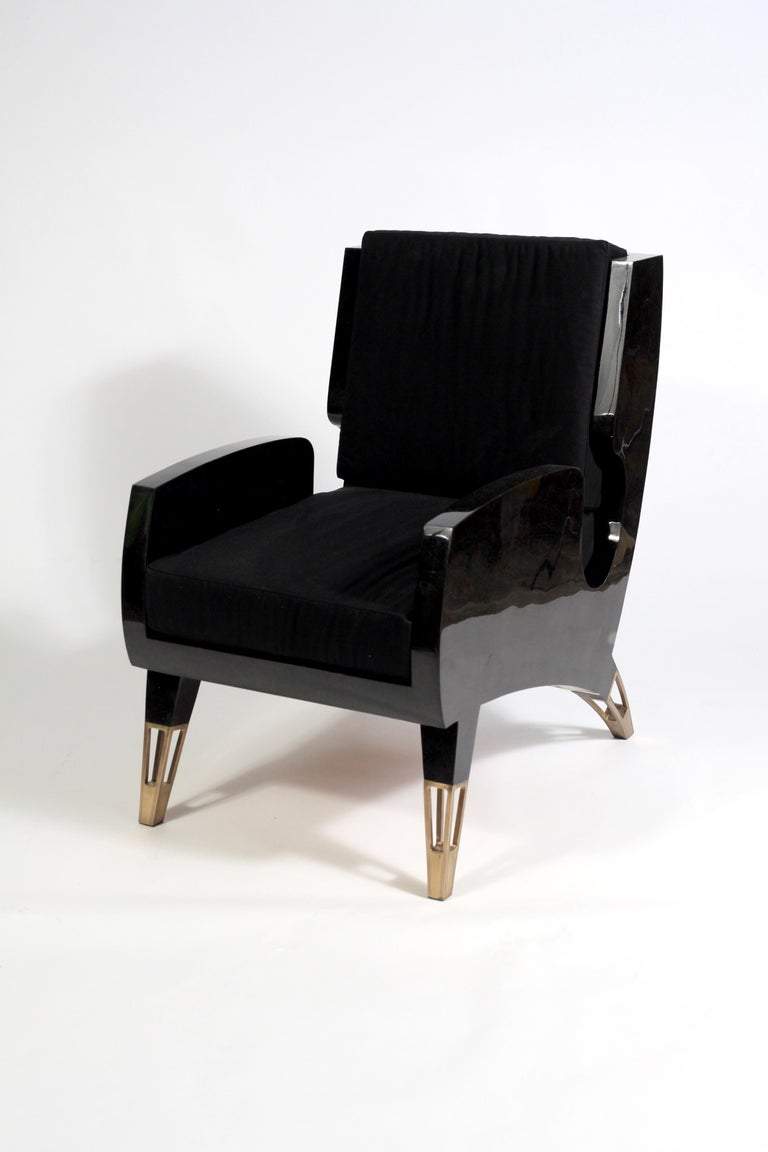 Hand-Crafted Marie Antoinette Chair in Cream Shagreen and Bronze-Patina Brass by R&Y Augousti For Sale