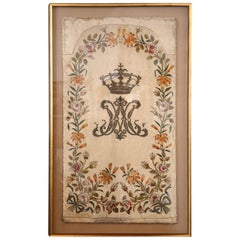 Marie Antoinette Hand- Embroidered Monogram, Framed