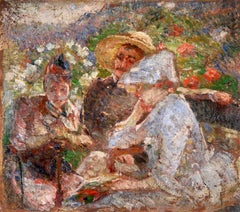 On the Terrace - Impressionist Oil, Figures in a Landscape by Marie Bracquemond