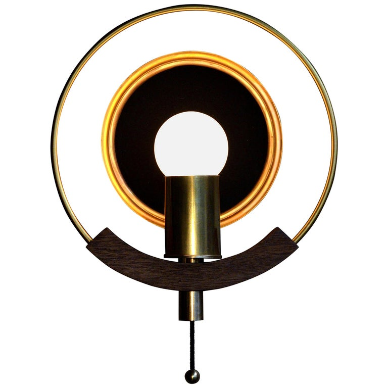 "/  ART DONOVAN /  ""Marie Claire"" Circular, Brass, Wood, Wall Lamp  1"