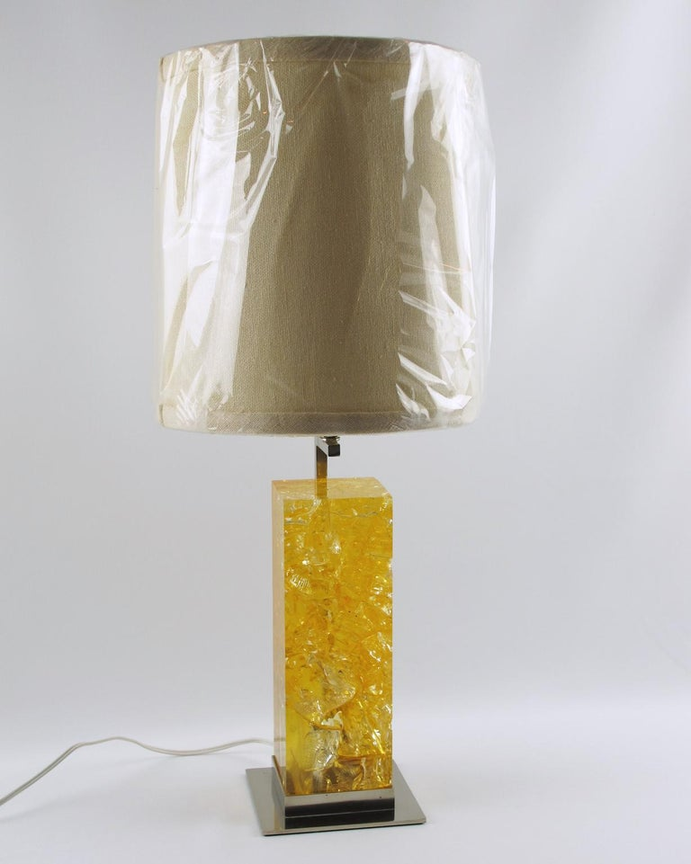 Stunning fractal resin table lamp designed by Marie-Claude de Fouquieres for French lighting company Ombre et Lumiere. Large resin block with vivid yellow color, nickel-plated base, and structure. Rewired to fit US standards. Brand new shade