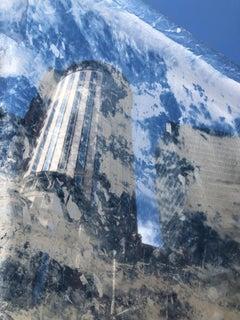 """""""Rising 2"""", cyanotype, photograph, silk, cityscape, Boston, blues"""