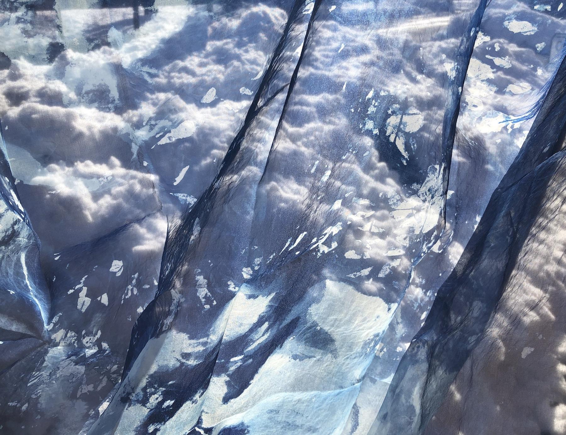 """Warming 2"", photograph, cyanotype, contemporary, landscape, blues"