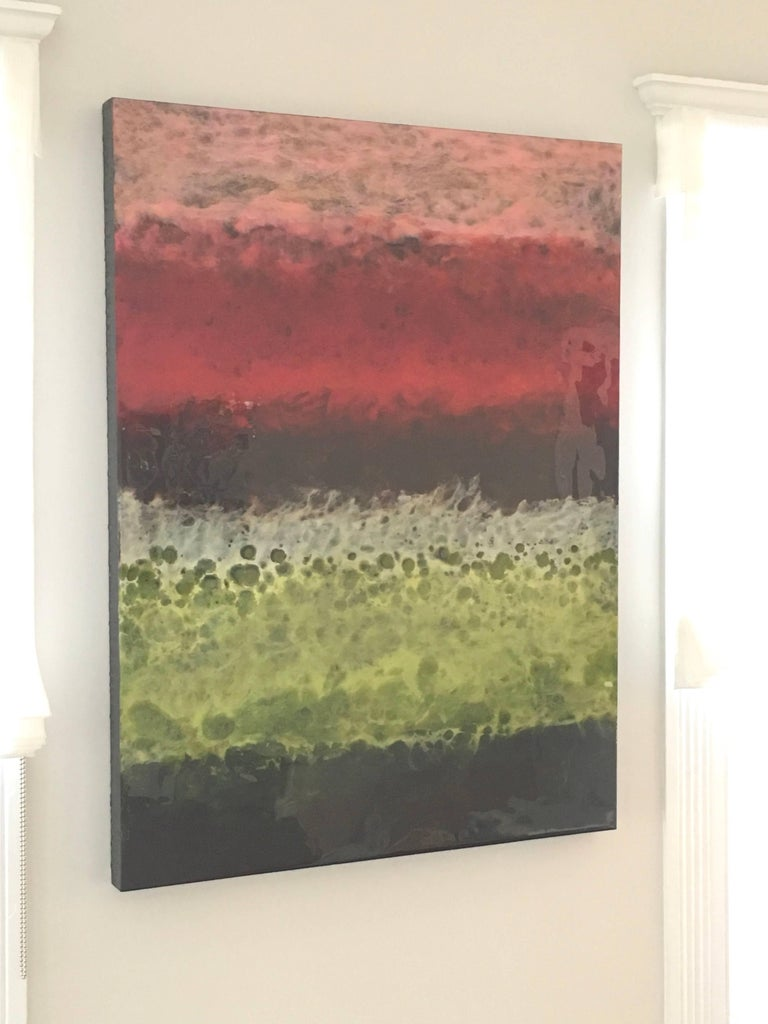 Blanes, Abstract, Red, Pink, Green, Black, Hi-gloss finish, Wood Panel, Vertical - Contemporary Mixed Media Art by Marie Danielle Leblanc