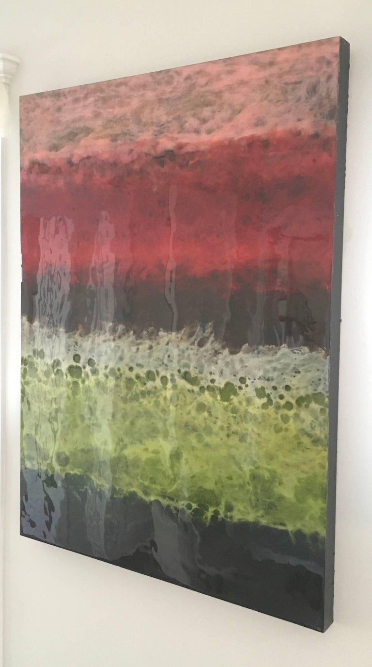 Blanes is a colorful abstract painting by Canadian artist, Marie Danielle Leblanc.  It is Oil and Pigment on wood panel with a high gloss finish.  It is 40x30.  It is finished on the edges so clients do not need to frame the artwork.  It is bright