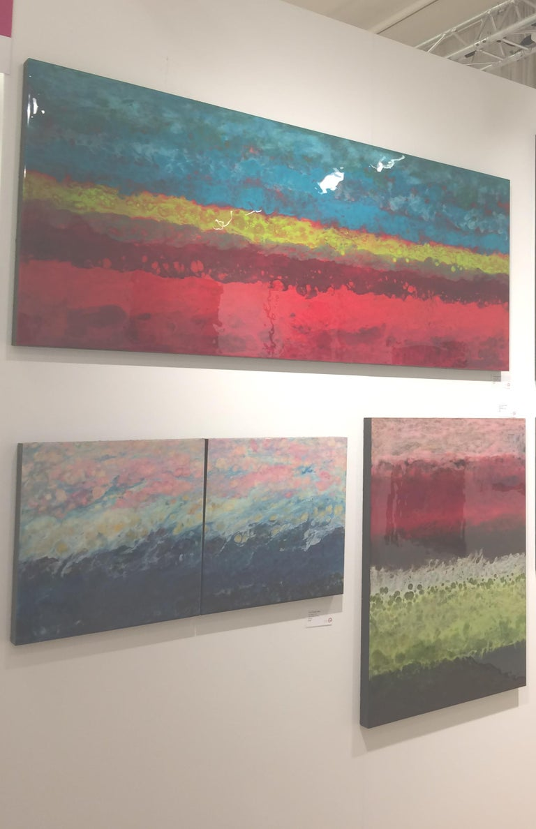 Blanes, Abstract, Red, Pink, Green, Black, Hi-gloss finish, Wood Panel, Vertical For Sale 1