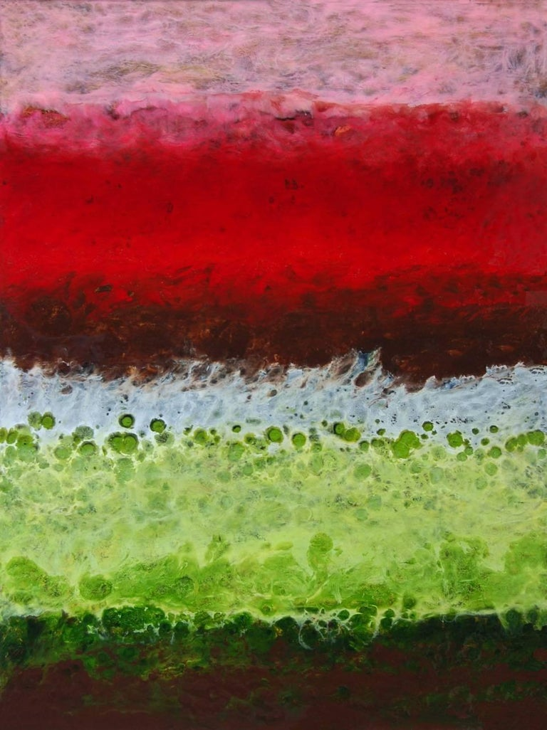 Blanes, Abstract, Red, Pink, Green, Black, Hi-gloss finish, Wood Panel, Vertical - Mixed Media Art by Marie Danielle Leblanc