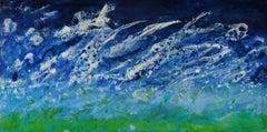 Cap Breton, water, encaustic, Ocean Scene, Blue, White, Wood Panel, Waves, Beach