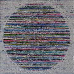 Cape Breton, Colorful, Blue, Pink, Green, White, Circle, Encaustic, 30x30