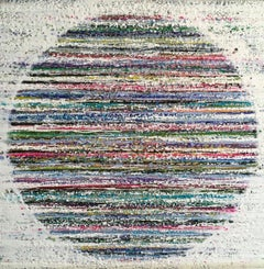 Cape Breton, Encaustic, Blue, Pink, Green, White, Circle, Textured, 30x30