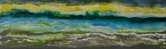 Cayo Romano, Abstract, Landscape, Yellow, Green, Blue, Encaustic, Horizontal