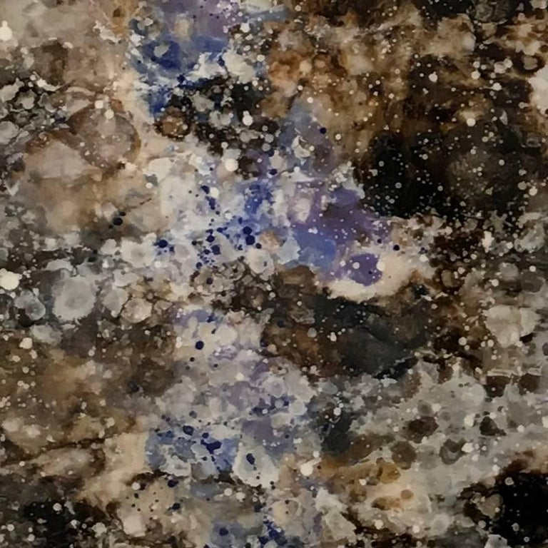 Chyamchee, Abstract painting, Triptych, Blue, Brown, Mixed media, Hi gloss - Contemporary Painting by Marie Danielle Leblanc