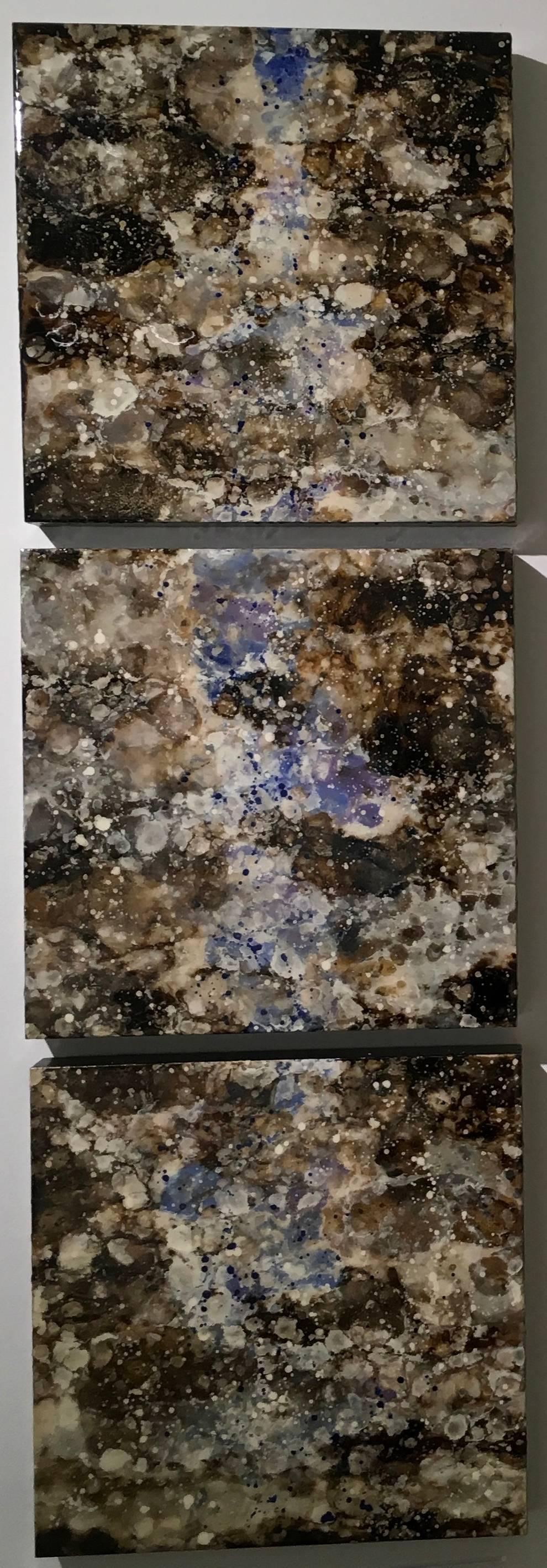 Chyamchee, Triptych, Blue, Brown, Hi gloss, Nature, Water, Nepal, Horizontal