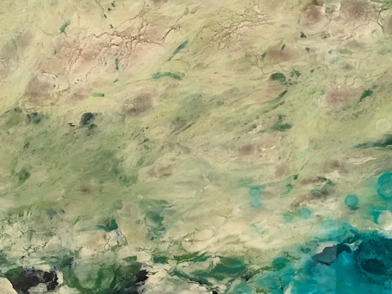El Prat, Water, Colorful, Abstract Landscape, Varnish, Mixed Media, Blue, White  - Contemporary Painting by Marie Danielle Leblanc