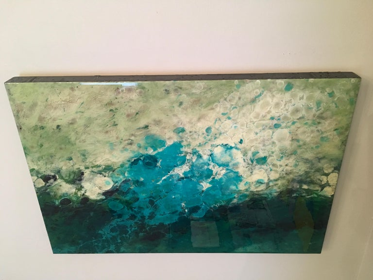 El Prat, Water, Colorful, Abstract Landscape, Varnish, Mixed Media, Blue, White  For Sale 4