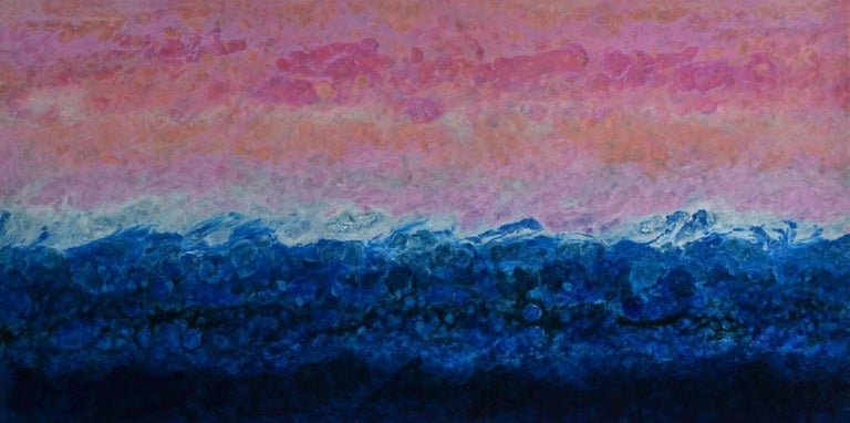 Fiorland is a brightly colored abstracted landscape by Canadian artist Marie Danielle Leblanc.  It is oil, pigment and high-gloss resin on Wood panel, 30x60.  Canadian artist, Marie Danielle Leblanc, was born in Trois-Rivières (Quebec) and has lived