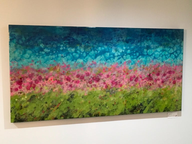 Hyangjia, Colorful Abstract Landscape, Blue, Pink, Green, hi-gloss finish, 30x60 - Painting by Marie Danielle Leblanc