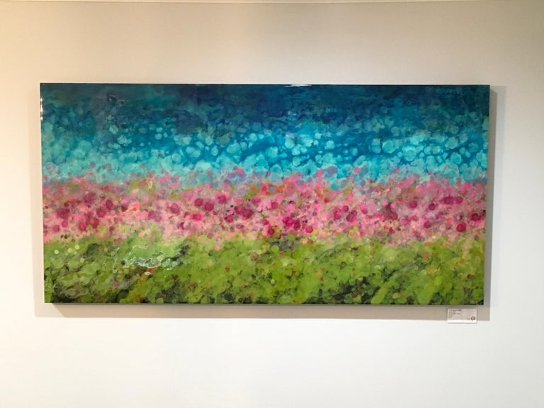 Marie Danielle Leblanc Landscape Painting - Hyangjia, Colorful Abstract Landscape, Blue, Pink, Green, hi-gloss finish, 30x60