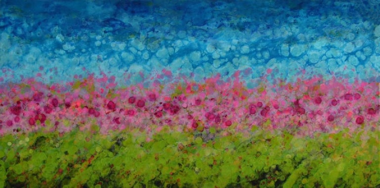 Hyangjia is a brightly colored abstracted landscape based on the artists travels to Nepal.  It is mixed media on wood panel with a high gloss finish.  It is 30x60.  Canadian artist, Marie Danielle Leblanc, was born in Trois-Rivières (Quebec) and has