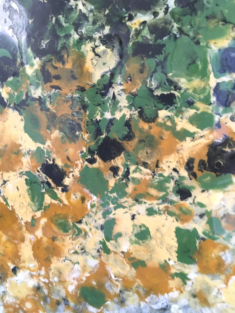 Ile Perot, vertical abstract landscape, Green, Yellow, White, Hi-gloss - Painting by Marie Danielle Leblanc