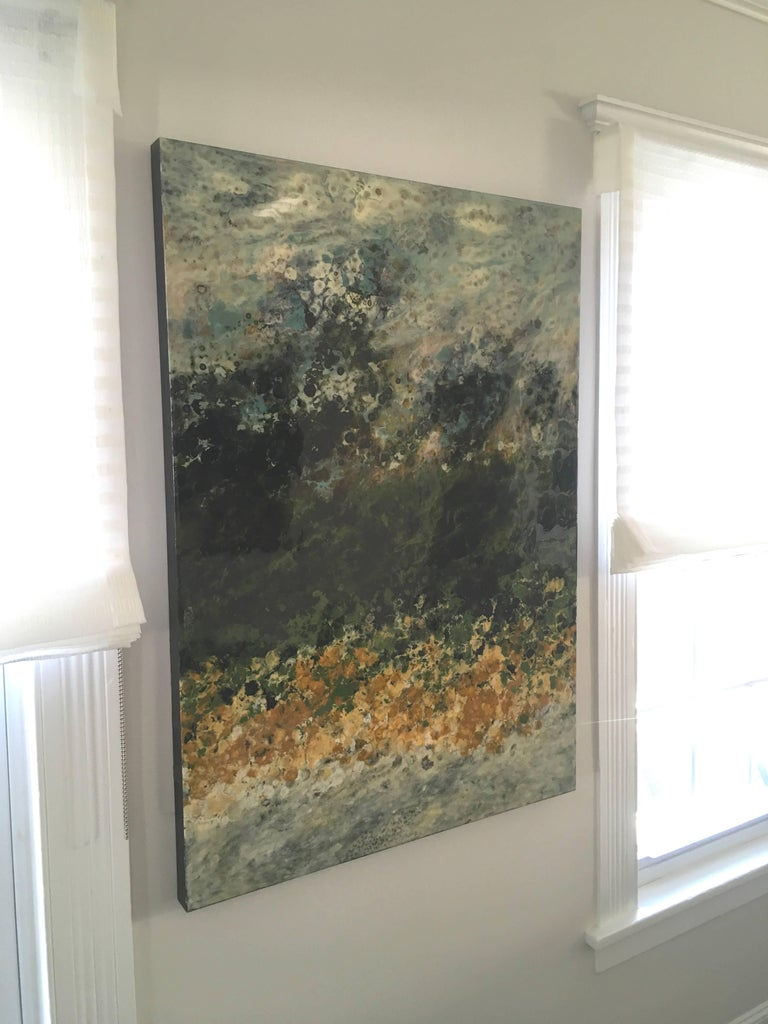 Ile Perot, vertical abstract landscape, Green, Yellow, White, Hi-gloss - Contemporary Painting by Marie Danielle Leblanc