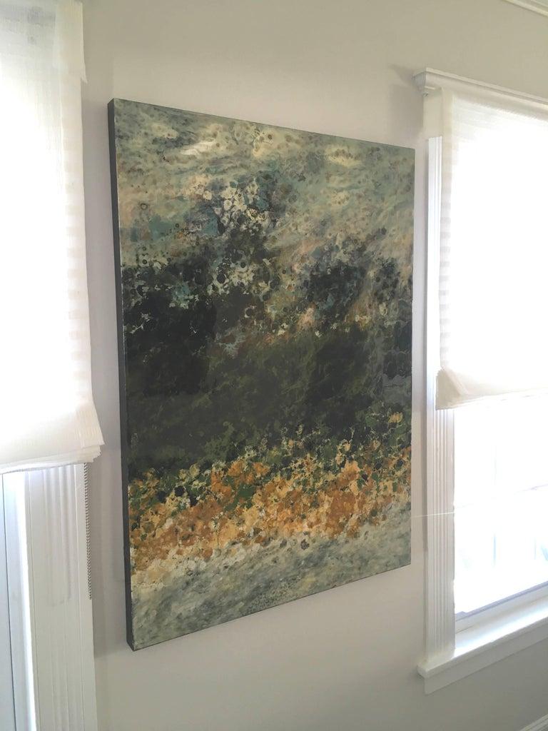 Ile Perot - Gray Landscape Painting by Marie Danielle Leblanc