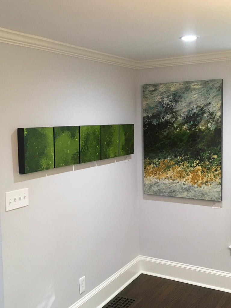 Ile Perot, vertical abstract landscape, Green, Yellow, White, Hi-gloss - Gray Landscape Painting by Marie Danielle Leblanc