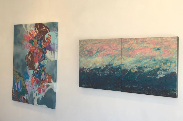 Lac Trouser, Pink, Blue, Abstract, Landscape, painting, Mixed Media, diptych 2