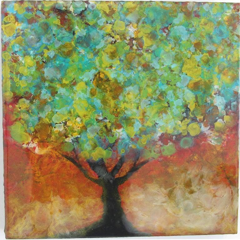 Organya, Mixed Media, Tree, Green, Yellow, Brown, Nature, Blooming, Small, Spain - Painting by Marie Danielle Leblanc