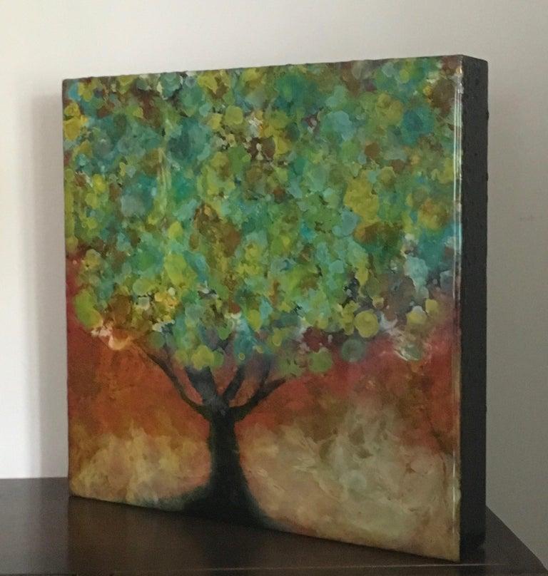 Organya, Mixed Media, Tree, Green, Yellow, Brown, Nature, Blooming, Small, Spain - Contemporary Painting by Marie Danielle Leblanc