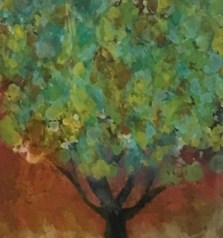 Organya, Mixed Media, Oil, Pigment, Hi gloss finish on Wood Panel.  It is 12x12.  Dynamic, colorful landscape painting featuring a Tree.  Can be hung or placed on a table or shelf.  Organya was inspired by a trip to Spain.  Canadian artist, Marie