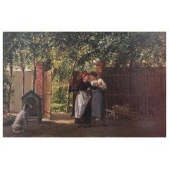 "Marie De Garay 'France' ""Dance Lesson"" Original Oil Painting, circa 1890"