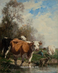 Cows with Shepherd and Dog