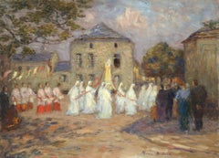 A Breton Festival - 19th Century Oil, Figures in a Breton Village by Marie Duhem