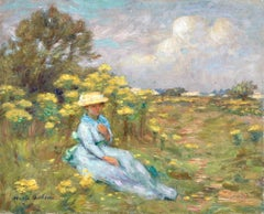 A Summer's Day - 19th Century Oil, Elegant Woman Figure in Landscape by M Duhem