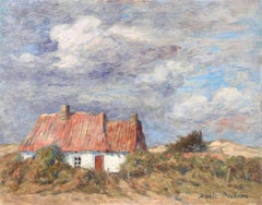 Chalet dans Paysage - 19th Century Oil, Cottage in Landscape by Marie Duhem