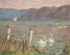 Cygnes sur le Lac - 19th Century Oil, Swans on Lake Landscape by Marie Duhem