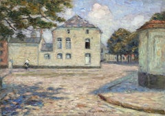 Figure in the Street - 19th Century Oil, French Village Landscape by Marie Duhem