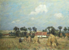 Harvest - 19th Century French Figure in Landscape Oil Painting by Marie Duhem