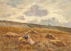 Jeune Femme au Repos - 19th Century Oil, Woman Resting in Landscape by M Duhem
