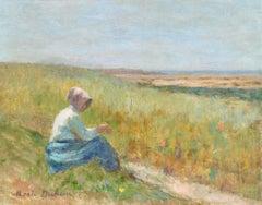 Jeune Femme en Paysage - 19th Century Oil, Figure in Landscape by Marie Duhem