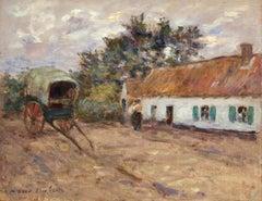 La Ferme - 19th Century Oil, Figures by Cottage & Cart in Landscape by M Duhem