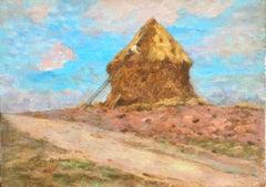 La Meule - 19th Century Oil, Figure making Haystack in Landscape by Marie Duhem