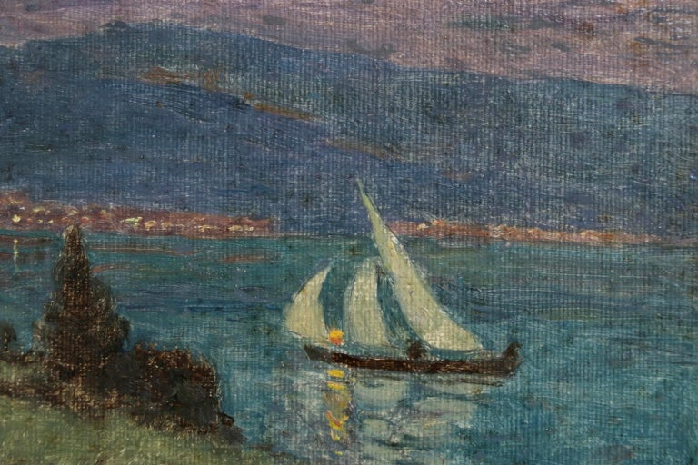 Lac Montreux - Moonlight - Impressionist Oil, Boat on Lake Landscape by M Duhem - Painting by Marie Duhem