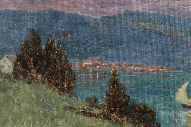 Lac Montreux - Moonlight - Impressionist Oil, Boat on Lake Landscape by M Duhem For Sale 1