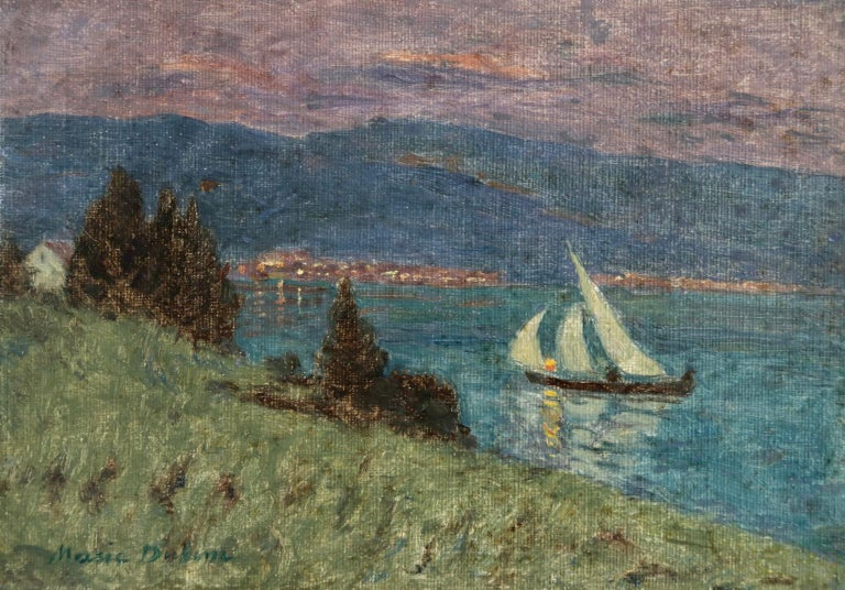 Marie Duhem Landscape Painting - Lac Montreux - Moonlight - Impressionist Oil, Boat on Lake Landscape by M Duhem