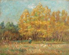 L'Automne - 19th Century Oil, Woman & Chickens Autumn Landscape by Marie Duhem